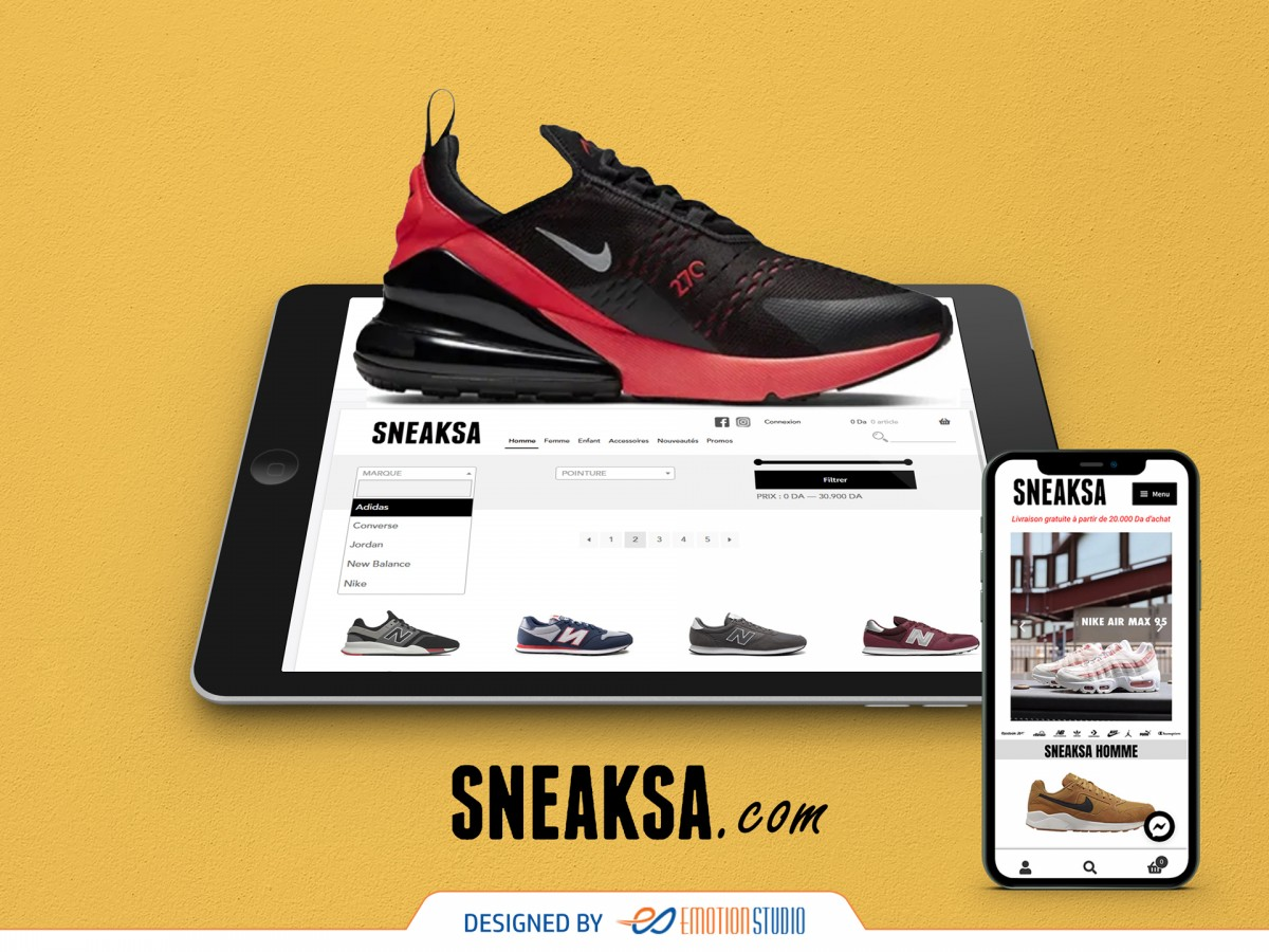 site e-commerce sneaksa version tablette