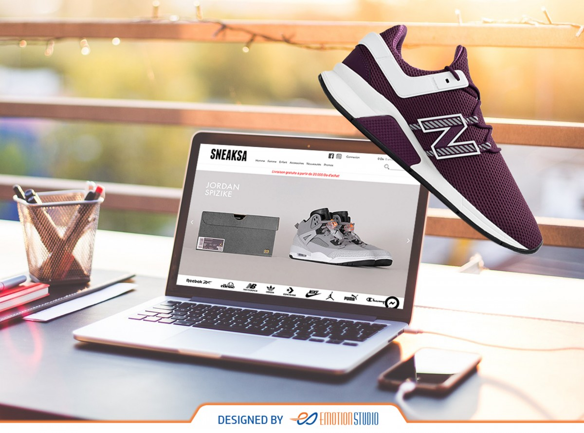 site e-commerce sneaksa sur laptop