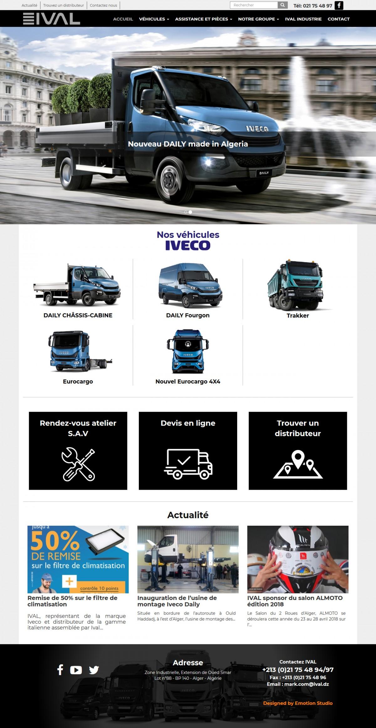 Page d'accueil du site web de IVAL - iveco algerie