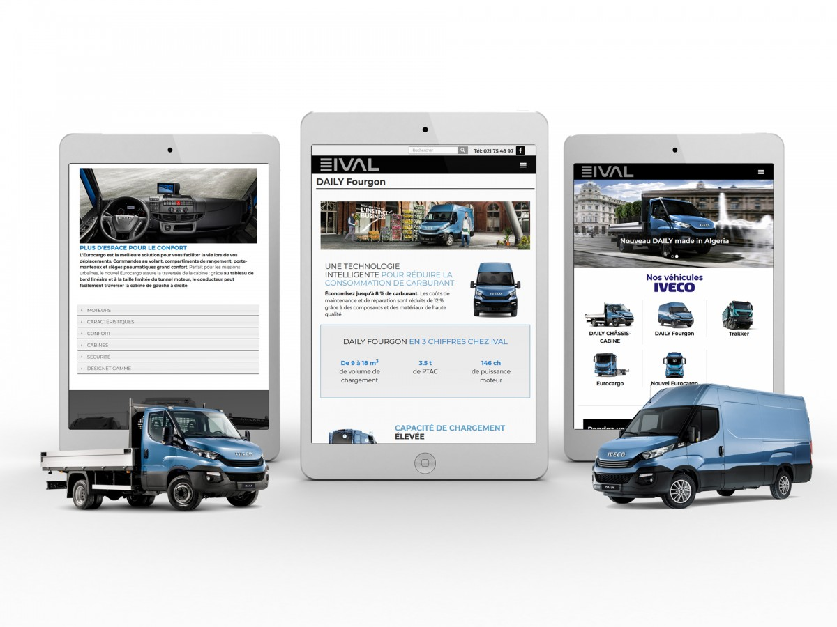 Site web ival en mode responsive sur tablette