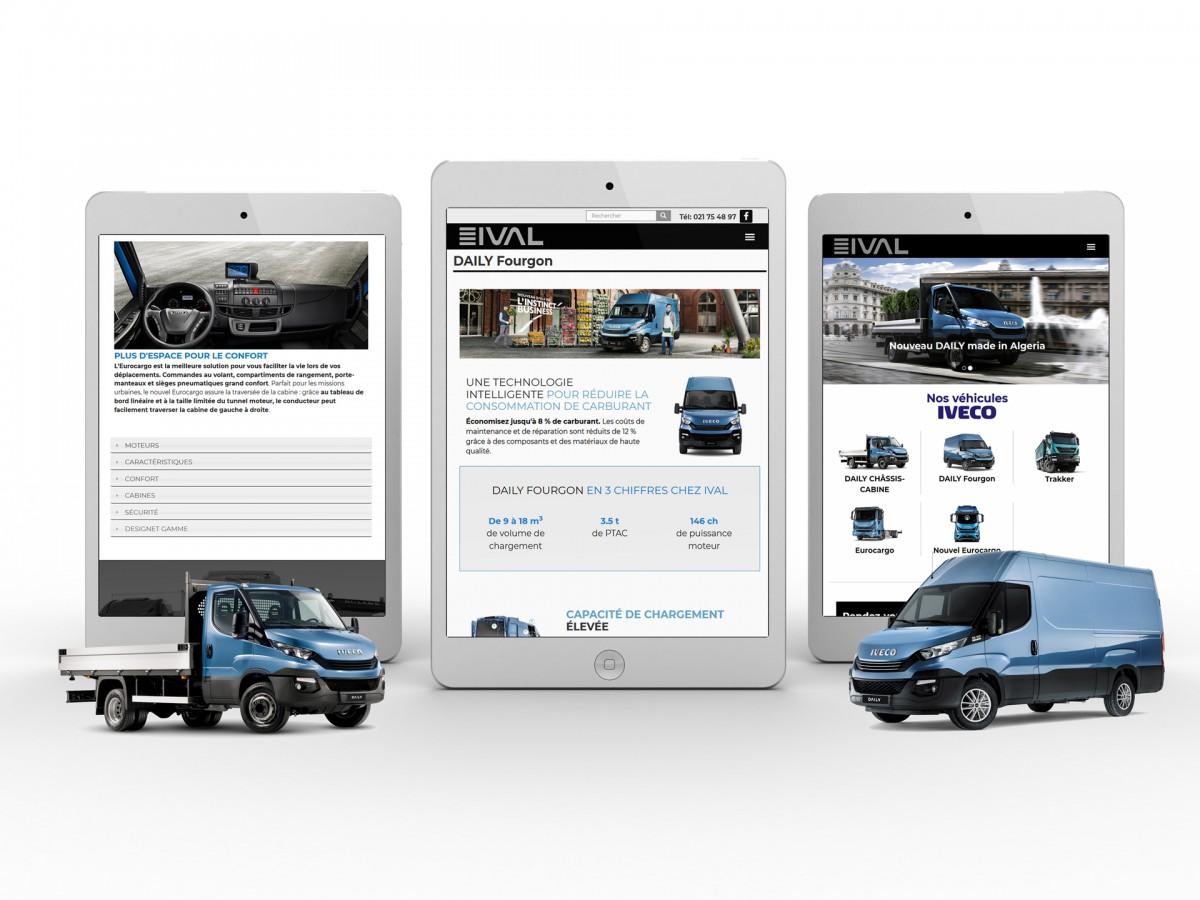 Site web ival en mode responsive sur tablette